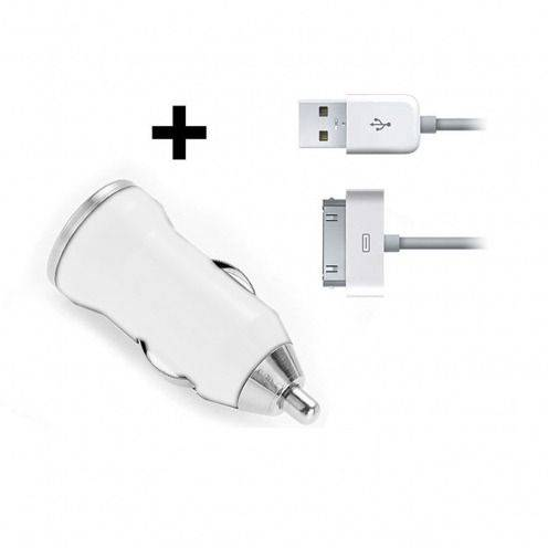 Mini chargeur voiture / Allume cigare USB avec Cable Data Blanc iPhone 3G/S/4/S
