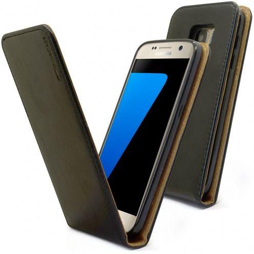 Etui Italia Flip Samsung Galaxy S7 Cuir Véritable Bovin Noir