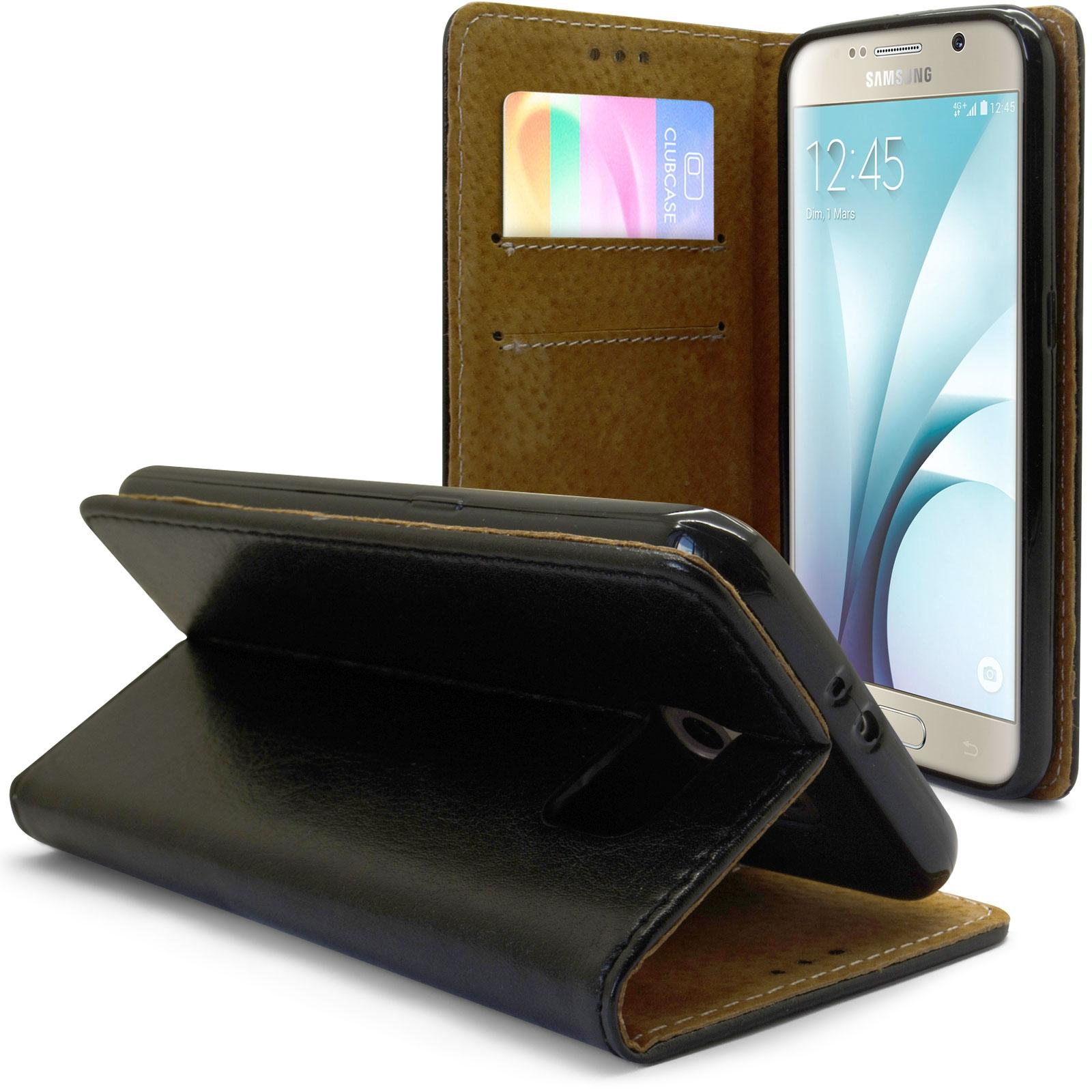 Coque Folio Stand Souple Galaxy S6 Cuir Véritable Noir