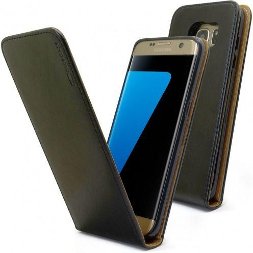 Etui Italia Flip Samsung Galaxy S7 Edge Cuir Véritable Bovin Noir