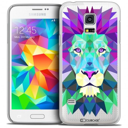 Coque Crystal Galaxy S5 Extra Fine Polygon Animals - Lion