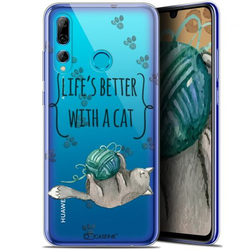 "Coque Gel Huawei P Smart+ / Plus 2019 (6.2"") Extra Fine Quote - Life's Better With a Cat"