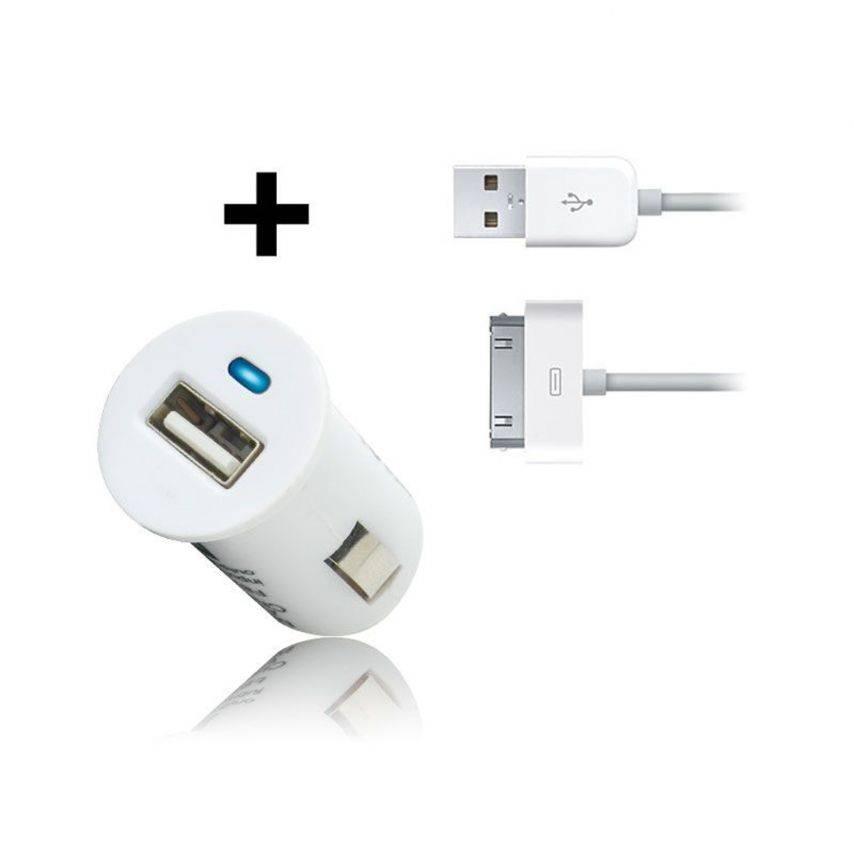Visuel unique de Micro chargeur voiture / Allume cigare USB avec Câble data Blanc iPhone 3G/S/4/S