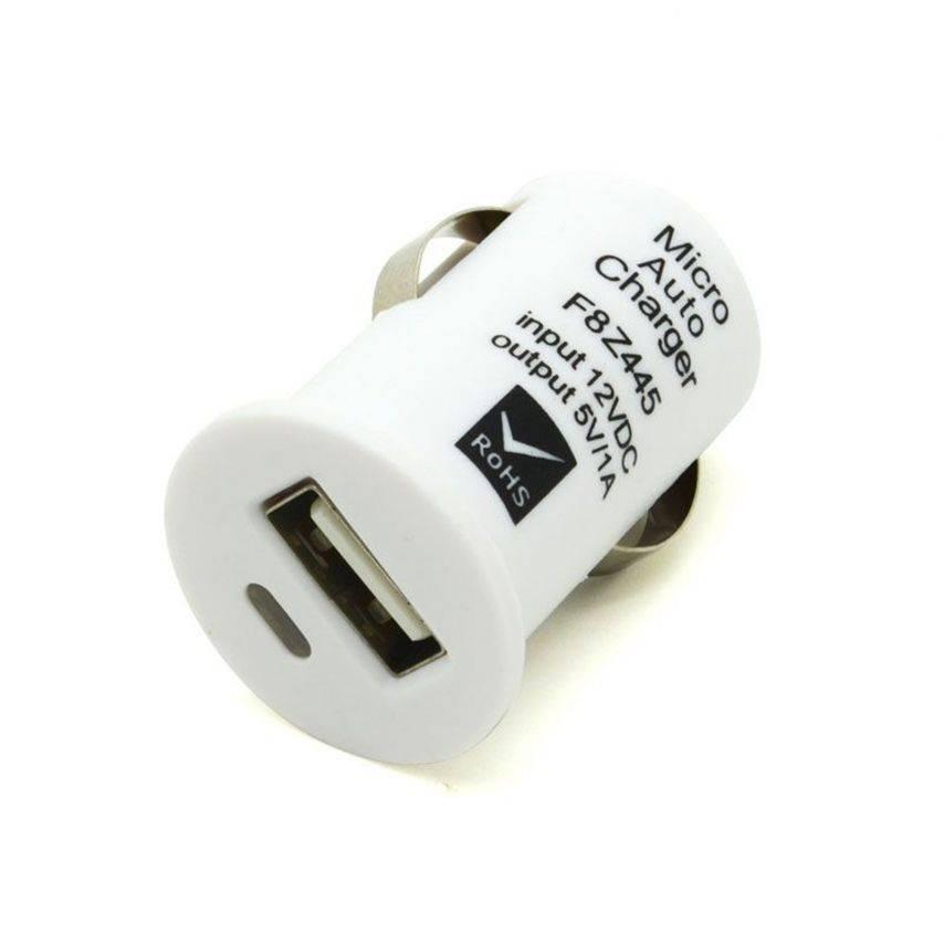 Visuel supplémentaire de Micro chargeur voiture / Allume cigare USB avec Câble data Blanc iPhone 3G/S/4/S