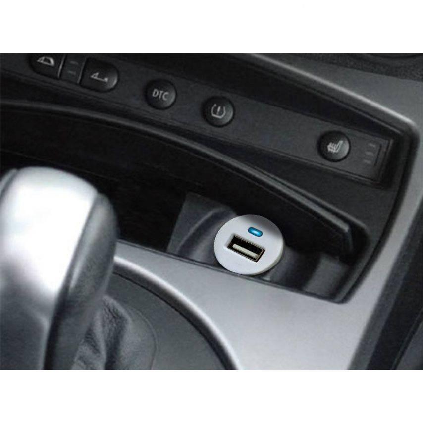 Vue complémentaire de Micro chargeur voiture / Allume cigare USB avec Câble data Blanc iPhone 3G/S/4/S