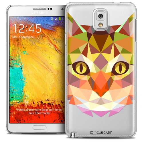Coque Crystal Galaxy Note 3 Extra Fine Polygon Animals - Chat