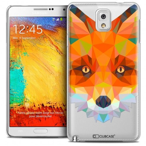 Coque Crystal Galaxy Note 3 Extra Fine Polygon Animals - Renard