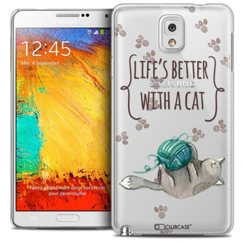 Coque Crystal Galaxy Note 3 Extra Fine Quote - Life's Better With a Cat