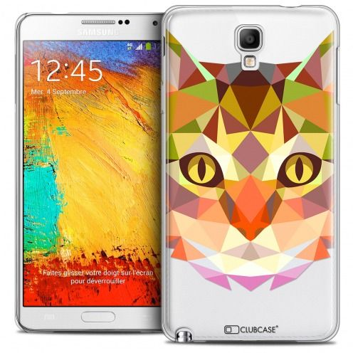 Coque Crystal Galaxy Note 3 Neo/Mini Extra Fine Polygon Animals - Chat