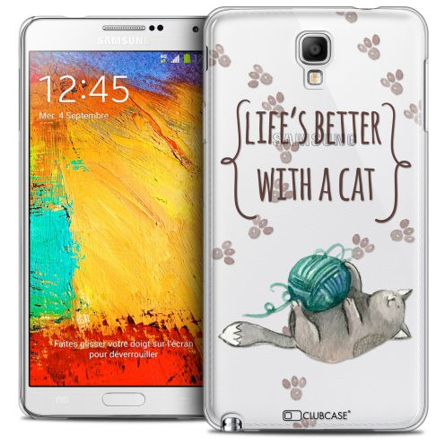 Coque Crystal Galaxy Note 3 Neo/Mini Extra Fine Quote - Life's Better With a Cat