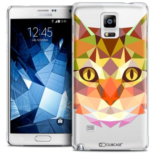Coque Crystal Galaxy Note 4 Extra Fine Polygon Animals - Chat
