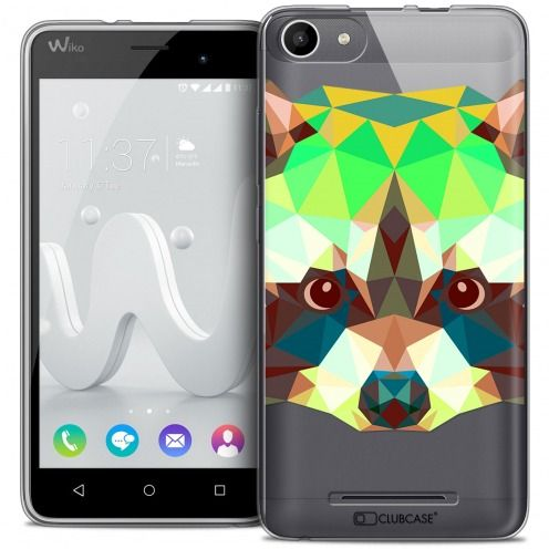 Coque Crystal Gel Wiko Jerry Extra Fine Polygon Animals - Raton Laveur