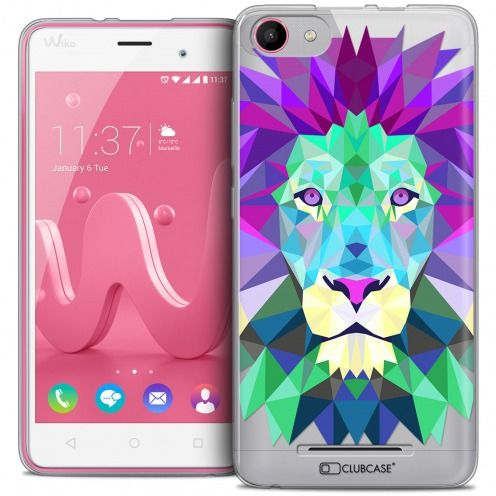 Coque Crystal Gel Wiko Jerry Extra Fine Polygon Animals - Lion