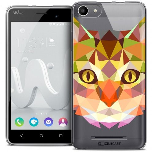 Coque Crystal Gel Wiko Jerry Extra Fine Polygon Animals - Chat