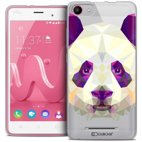 Coque Crystal Gel Wiko Jerry Extra Fine Polygon Animals - Panda
