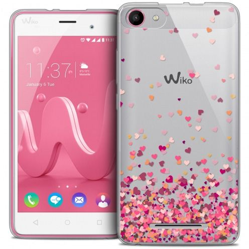 Coque Crystal Gel Wiko Jerry Extra Fine Sweetie - Heart Flakes