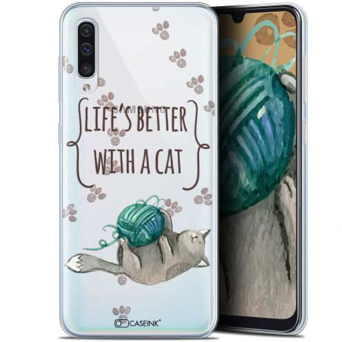 "Coque Gel Samsung Galaxy A50 (6.4"") Extra Fine Quote - Life's Better With a Cat"