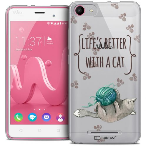 Coque Crystal Gel Wiko Jerry Extra Fine Quote - Life's Better With a Cat