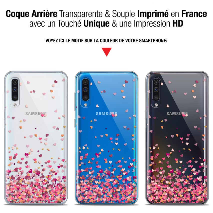 """Coque Gel Samsung Galaxy A50 (6.4"""") Extra Fine Sweetie - Heart Flakes"""