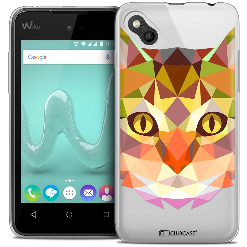 Coque Crystal Gel Wiko Sunny Extra Fine Polygon Animals - Chat