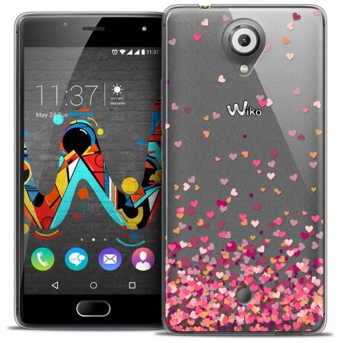 Coque Crystal Gel Wiko U Feel Extra Fine Sweetie - Heart Flakes