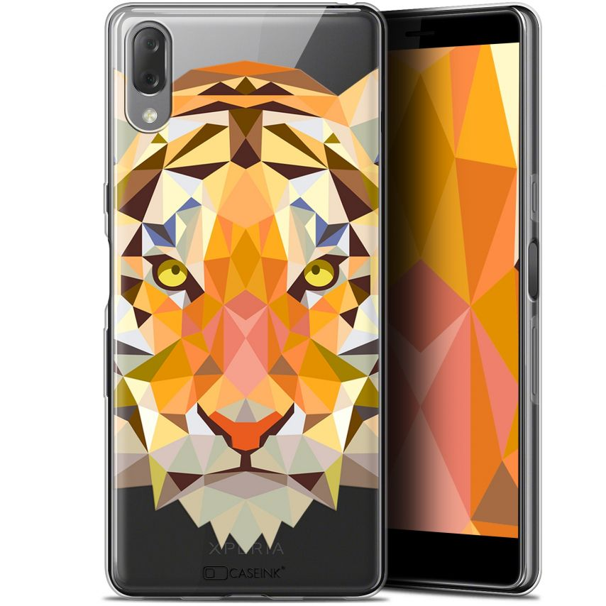 "Coque Gel Sony Xperia L3 (5.7"") Extra Fine Polygon Animals - Tigre"