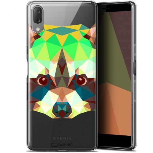 "Coque Gel Sony Xperia L3 (5.7"") Extra Fine Polygon Animals - Raton Laveur"