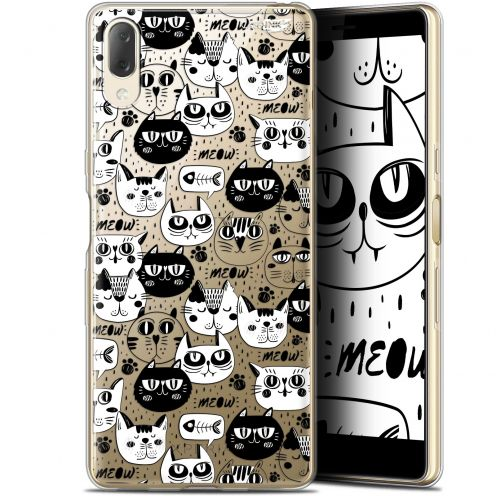 "Coque Gel Sony Xperia L3 (5.7"") Extra Fine Motif - Chat Noir Chat Blanc"