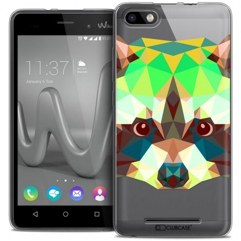 Coque Crystal Gel Wiko Lenny 3 Extra Fine Polygon Animals - Raton Laveur