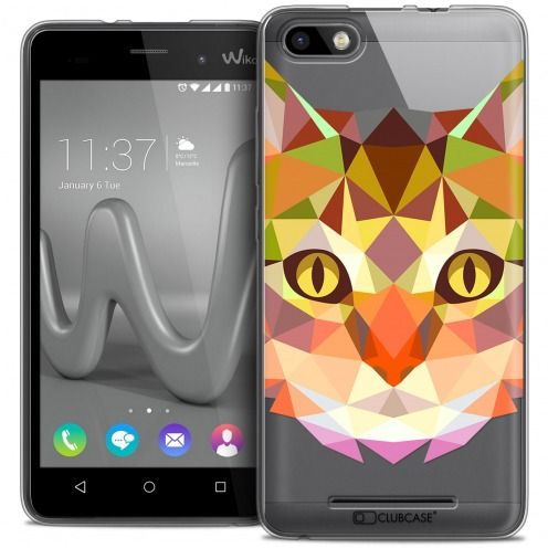 Coque Crystal Gel Wiko Lenny 3 Extra Fine Polygon Animals - Chat