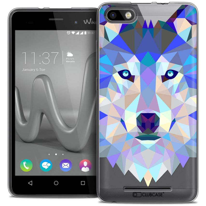 Coque Crystal Gel Wiko Lenny 3 Extra Fine Polygon Animals - Loup