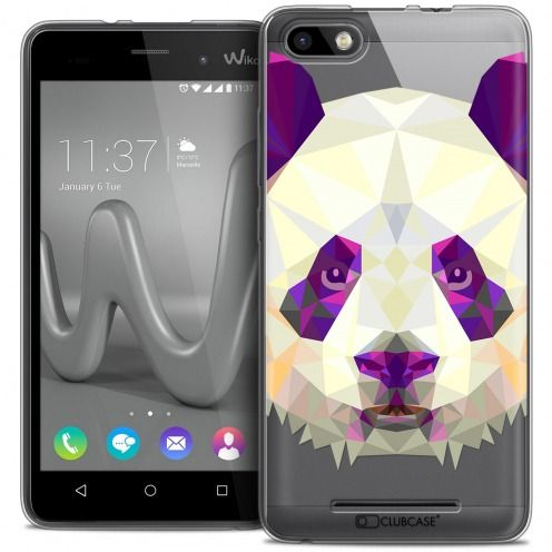 Coque Crystal Gel Wiko Lenny 3 Extra Fine Polygon Animals - Panda