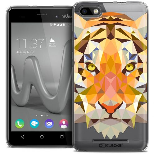 Coque Crystal Gel Wiko Lenny 3 Extra Fine Polygon Animals - Tigre