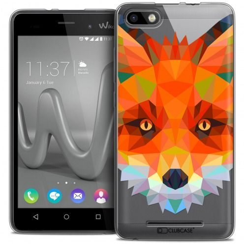 Coque Crystal Gel Wiko Lenny 3 Extra Fine Polygon Animals - Renard