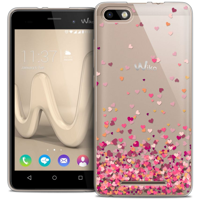 Coque Crystal Gel Wiko Lenny 3 Extra Fine Sweetie - Heart Flakes