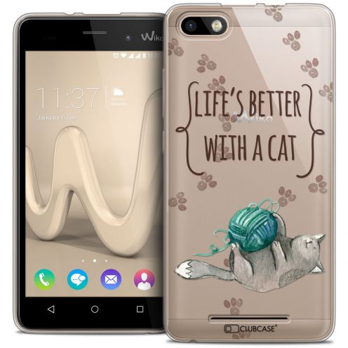 Coque Crystal Gel Wiko Lenny 3 Extra Fine Quote - Life's Better With a Cat