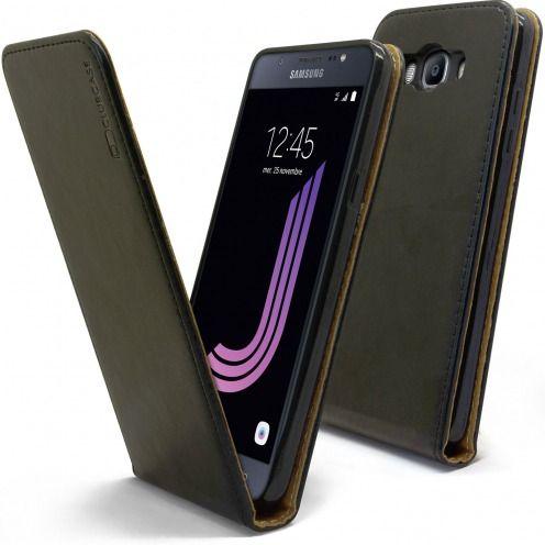 Etui Italia Flip Samsung Galaxy J7 2016 (J710) Cuir Véritable Bovin Noir