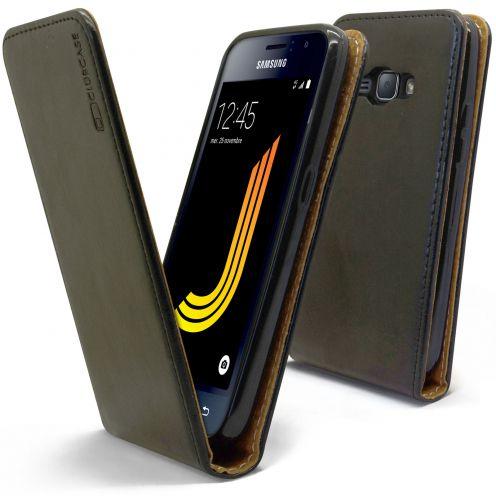 Etui Italia Flip Samsung Galaxy J1 2016 (J120) Cuir Véritable Bovin Noir