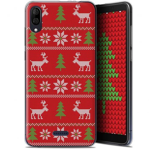 "Coque Gel Wiko Y80 (6"") Extra Fine Noël 2017 - Couture Rouge"
