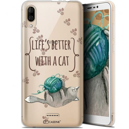 """Coque Gel Wiko Y80 (6"""") Extra Fine Quote - Life's Better With a Cat"""