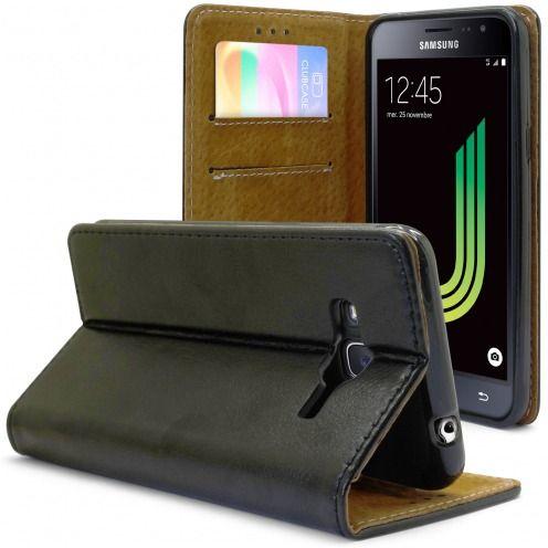 Etui Italia Folio Stand Samsung Galaxy J3 2016 (J320) Cuir Véritable Bovin Noir