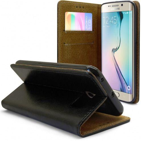 Etui Italia Folio Stand Samsung Galaxy S6 Edge Cuir Véritable Bovin Noir