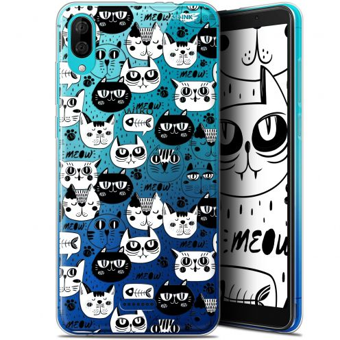"Coque Gel Wiko Y80 (6"") Extra Fine Motif - Chat Noir Chat Blanc"