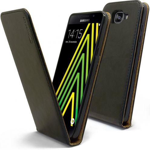 Etui Italia Flip Samsung Galaxy A5 2016 (A510) Cuir Véritable Bovin Noir