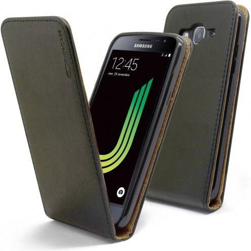 Etui Italia Flip Samsung Galaxy J3 2016 (J320) Cuir Véritable Bovin Noir