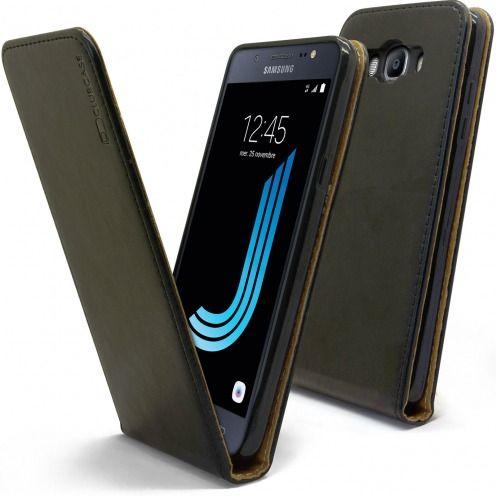 Etui Italia Flip Samsung Galaxy J5 2016 (J510) Cuir Véritable Bovin Noir