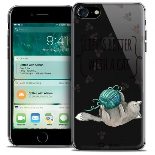 """Coque Crystal Gel Apple iPhone 7 (4.7"""") Extra Fine Quote - Life's Better With a Cat"""