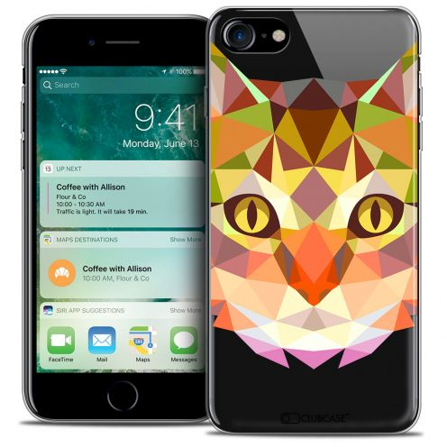 "Coque Crystal Gel Apple iPhone 7 (4.7"") Extra Fine Polygon Animals - Chat"
