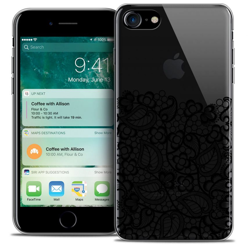 "Coque Crystal Gel Apple iPhone 7 (4.7"") Extra Fine Spring - Bas dentelle Noir"