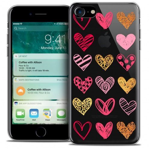 "Coque Crystal Gel Apple iPhone 7 (4.7"") Extra Fine Sweetie - Doodling Hearts"